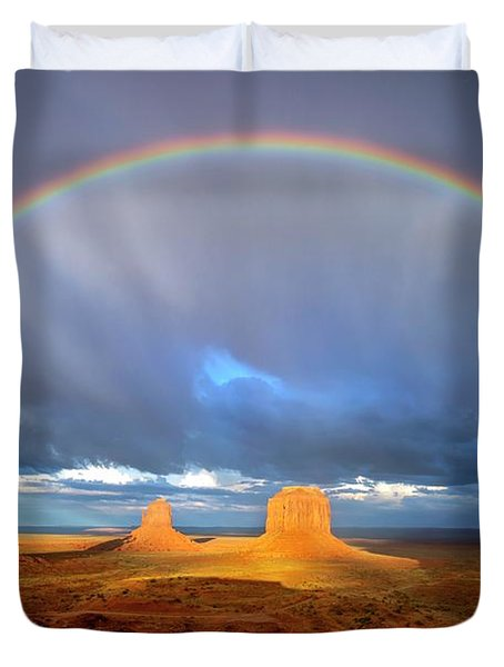 Full Rainbow Over The Mittens Duvet Cover