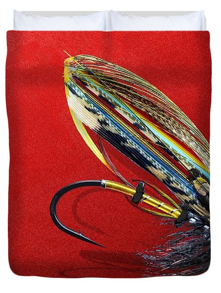 Fully Dressed Salmon Fly On Red Duvet Cover by Serge Averbukh
