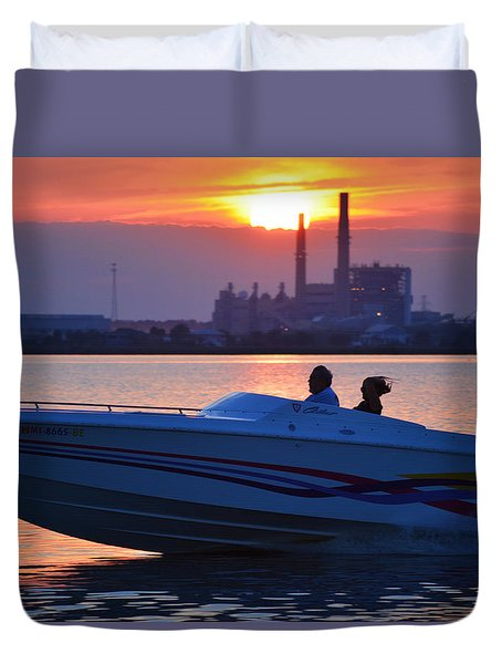 Fun At Sunset Duvet Cover by Cathy Jourdan