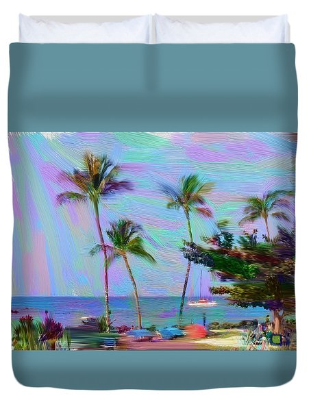 Fun At The Beach Duvet Cover by Karen Nicholson