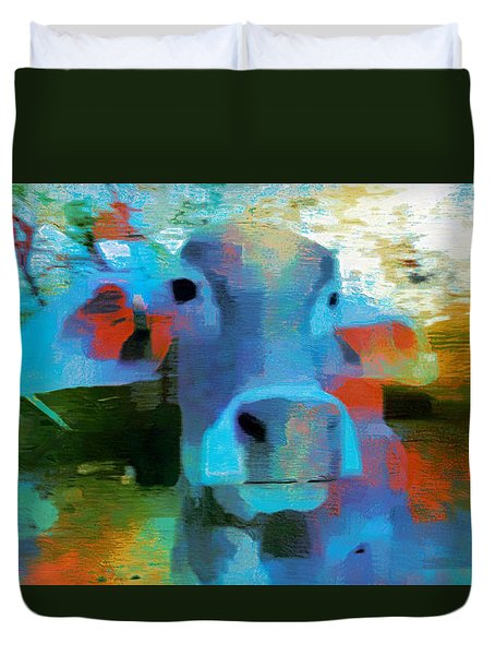 Turquoise Abstract Fun Cow Rajasthan India 1a Duvet Cover