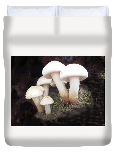 Duvet Cover featuring the digital art Fun Guys by Martha Ayotte