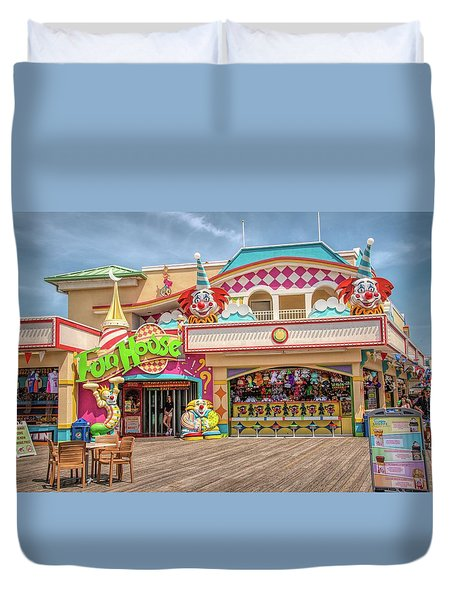 Duvet Cover featuring the photograph Fun House On The Point Pleasant Boardwalk by Kristia Adams