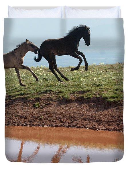 Fun In The Rockies- Wild Horse Foals Duvet Cover