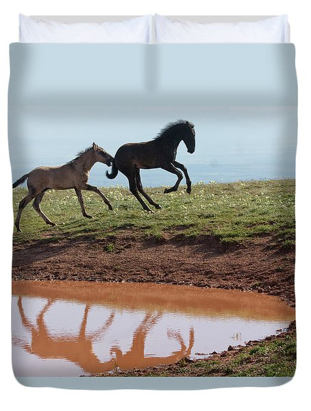 Fun In The Rockies- Wild Horse Foals Duvet Cover