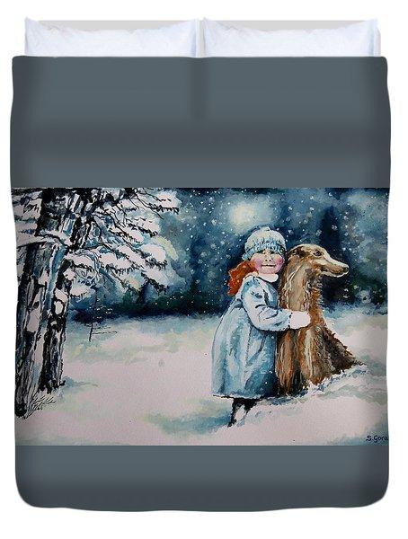 Fun In The Snow Duvet Cover by Geni Gorani