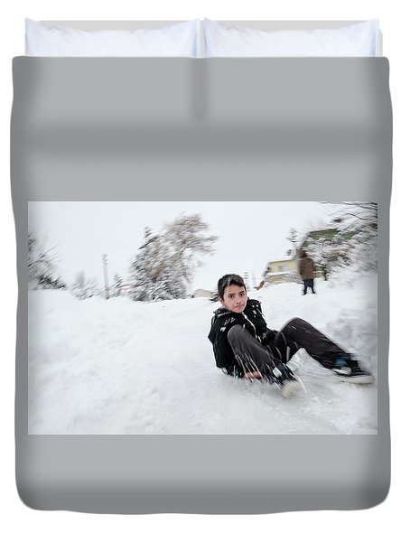 Fun On Snow-1 Duvet Cover