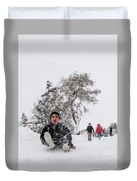 Fun On Snow-2 Duvet Cover