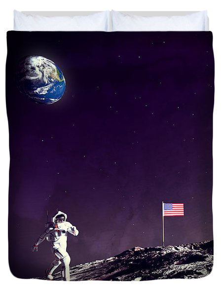 Duvet Cover featuring the digital art Fun On The Moon by Methune Hively