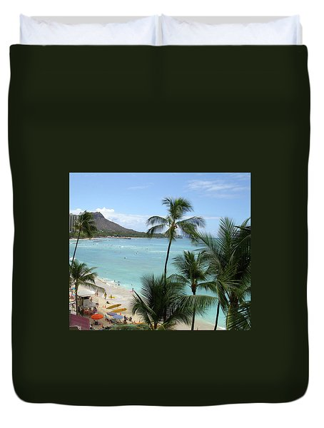 Fun Times On The Beach In Waikiki Duvet Cover by Karen Nicholson