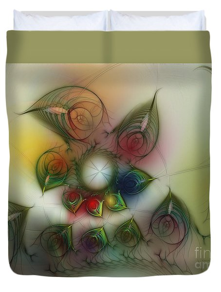 Duvet Cover featuring the digital art Fun With Gardening by Karin Kuhlmann