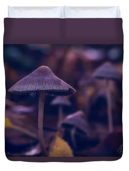 Duvet Cover featuring the photograph Fungi World by Gene Garnace