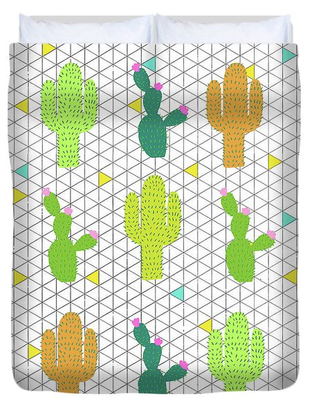 Funky Cactus Duvet Cover by Nicole Wilson