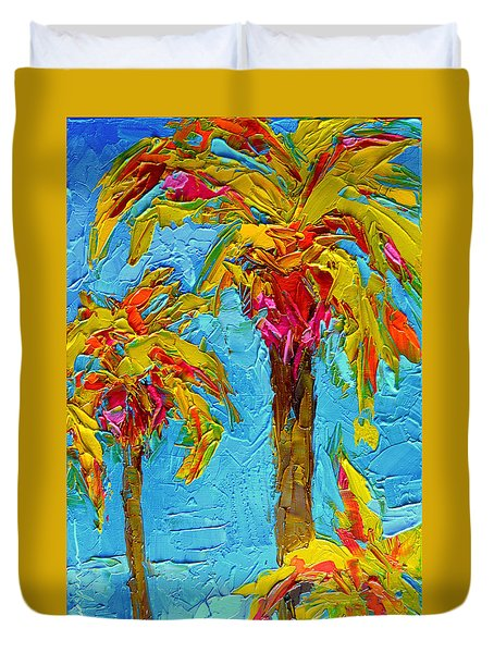Funky Fun Palm Trees - Modern Impressionist Knife Palette Oil Painting Duvet Cover