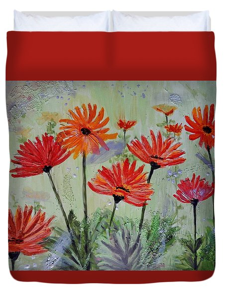 Duvet Cover featuring the painting Funky Gerbera Daisies by Betty-Anne McDonald