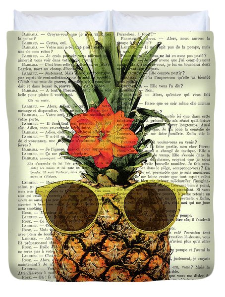 Funny And Cute Pineapple Art Duvet Cover