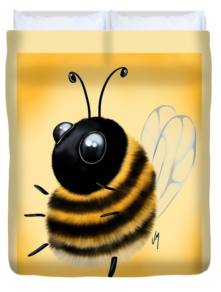 Duvet Cover featuring the painting Funny Bee by Veronica Minozzi