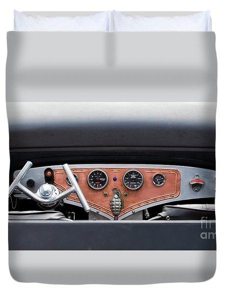 Duvet Cover featuring the photograph Funny Car Dash by Chris Dutton