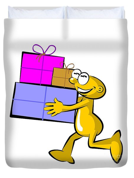Funny Cartoon Carrying Three Boxes Duvet Cover