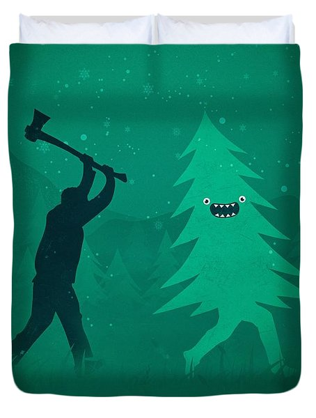 Funny Cartoon Christmas Tree Is Chased By Lumberjack Run Forrest Run Duvet Cover by Philipp Rietz