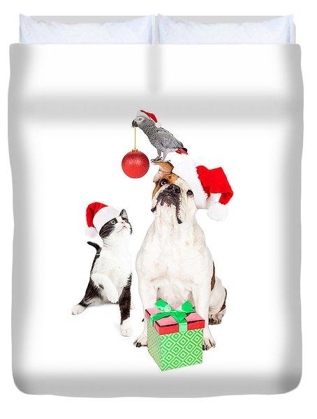 Funny Cat Dog And Bird Christmas Composite Duvet Cover