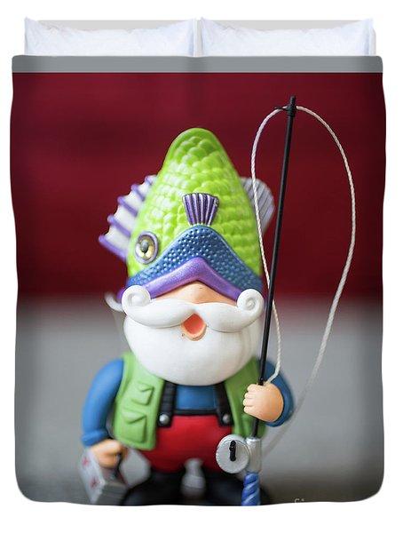 Funny Christmas Fisherman Duvet Cover