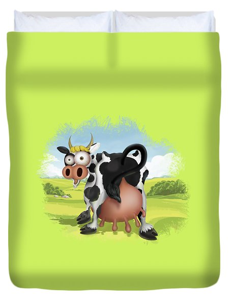 Duvet Cover featuring the drawing Funny Cow by Julia Art