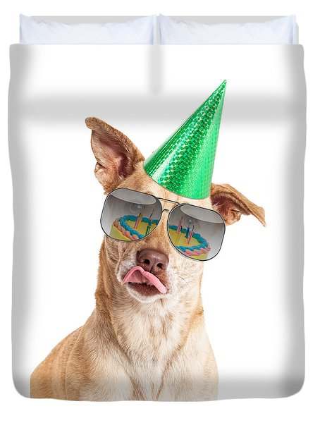 Funny Dog Birthday Cake Reflection Duvet Cover