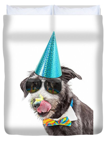 Funny Dog Eating Birthday Cake Duvet Cover