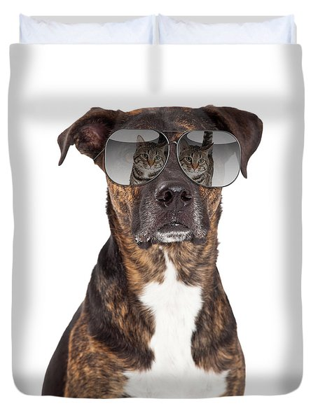 Funny Dog With Cat Reflection In Sunglasses Duvet Cover