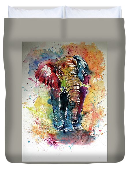 Duvet Cover featuring the painting Funny Elephant by Kovacs Anna Brigitta