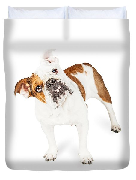 Funny English Bulldog Standing Tilting Head Duvet Cover