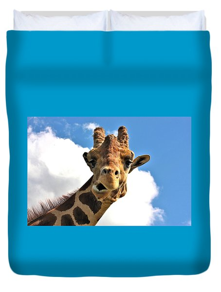 Funny Face Giraffe Duvet Cover by Sheila Brown