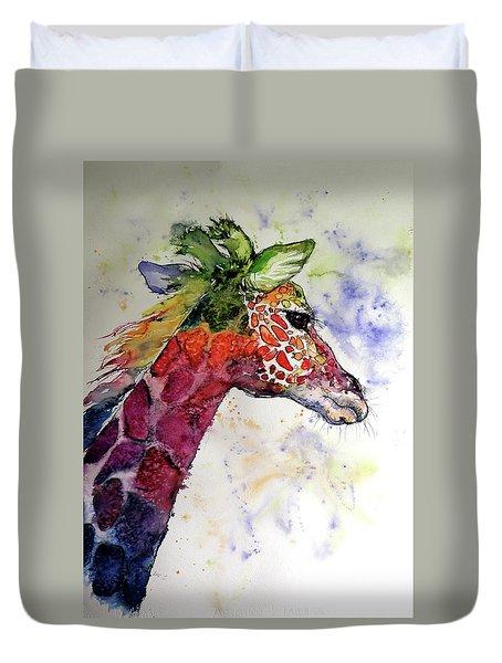 Duvet Cover featuring the painting Funny Giraffe by Kovacs Anna Brigitta