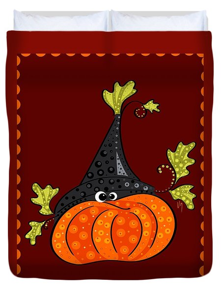 Duvet Cover featuring the painting Funny Halloween by Veronica Minozzi