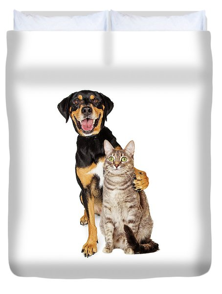 Funny Photo Of Dog With Arm Around Cat Duvet Cover
