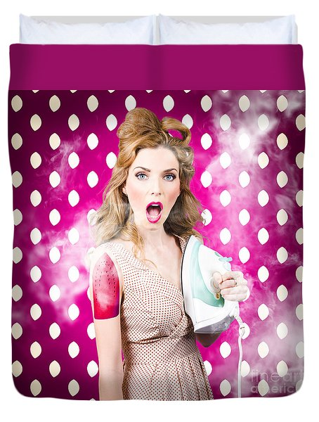 Duvet Cover featuring the photograph Funny Pin-up Woman Pressing Clothes. Dry Cleaning by Jorgo Photography - Wall Art Gallery