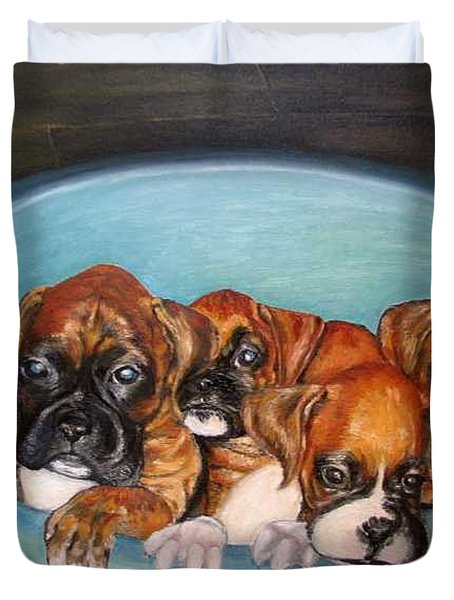 Funny Puppies Orginal Oil Painting Duvet Cover by Natalja Picugina