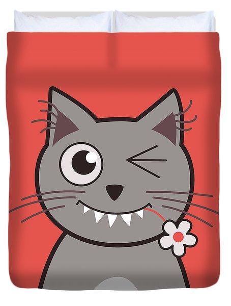 Funny Winking Cartoon Kitty Cat Duvet Cover