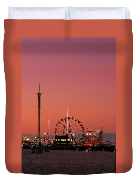 Funtown Pier At Sunset II - Jersey Shore Duvet Cover