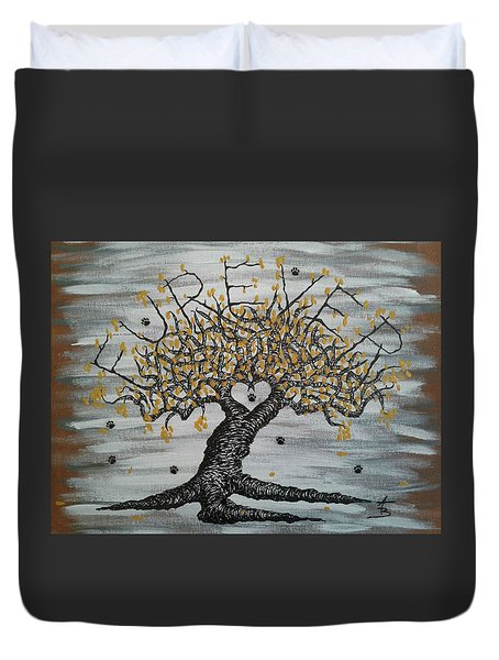 Duvet Cover featuring the drawing Furever Love Tree W/ Paws by Aaron Bombalicki