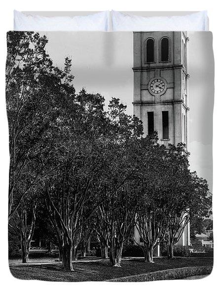 Furman University Bell Tower Greenville South Carolina Black And White Duvet Cover