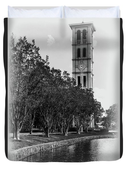 Furman University Bell Tower Greenville South Carolina Black And White Duvet Cover