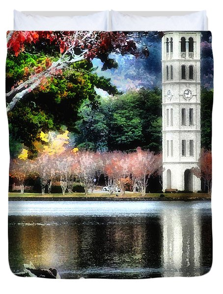 Furman University Bell Tower Duvet Cover by Lynne Jenkins