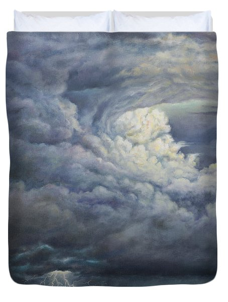 Fury Over Square Butte Duvet Cover