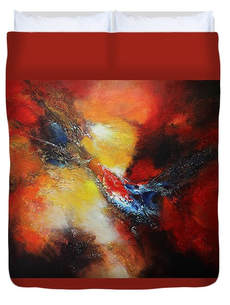 Duvet Cover featuring the painting Fury by Patricia Lintner