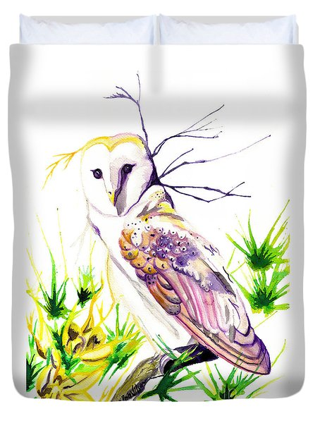 Duvet Cover featuring the painting Furze Wisdom by D Renee Wilson
