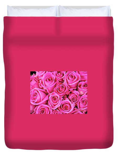 Fuschia Colored Roses Duvet Cover