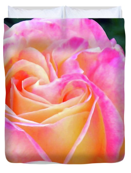 Duvet Cover featuring the photograph Fushia And Yellow Rose by Michelle Joseph-Long