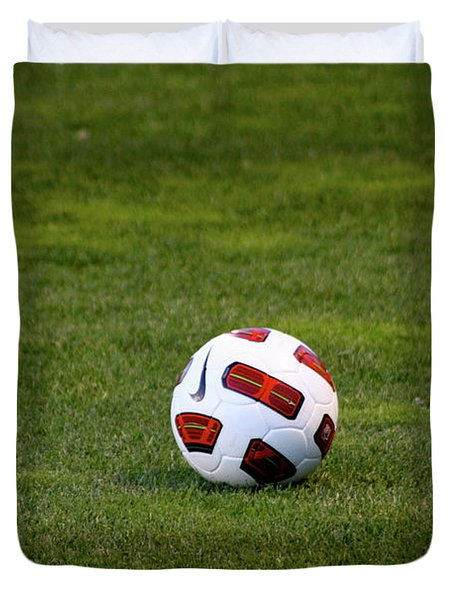Duvet Cover featuring the photograph Futbol by Laddie Halupa